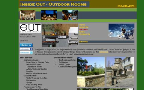 Screenshot of Services Page insideoutrooms.net - Inside Out Outdoor Rooms | Outdoor Kitchen, Outdoor Entertainment, Landscaping, Patio and Deck Services - captured Oct. 6, 2014