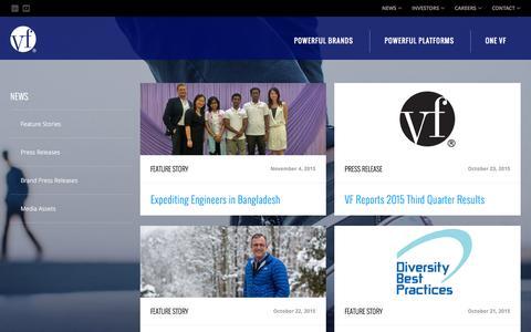 Screenshot of Press Page vfc.com - News :: VF Corporation (VFC) - captured Nov. 4, 2015
