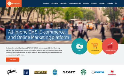 Screenshot of Home Page kentico.com - .NET CMS, E-commerce & Online Marketing Platform | Kentico - captured Sept. 2, 2015
