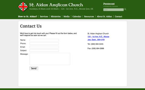 Screenshot of Contact Page mjanglican.org - Contact Us | St. Aidan Anglican Church - captured Oct. 7, 2014