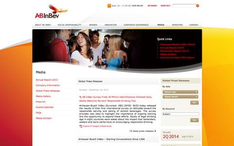 Screenshot of Press Page ab-inbev.com - Anheuser-Busch InBev - Media - - captured Sept. 25, 2014