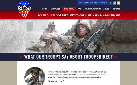 Screenshot of Testimonials Page troopsdirect.org - Testimonials �  TroopsDirect.org - captured Dec. 5, 2015