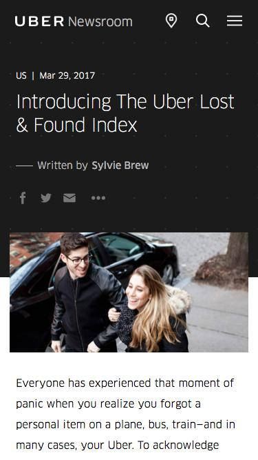 Screenshot of Press Page  uber.com - Introducing The Uber Lost & Found Index | Uber Newsroom US