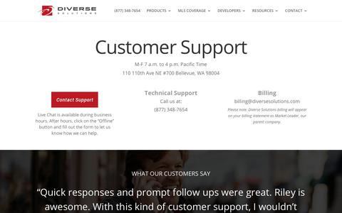 Screenshot of Support Page diversesolutions.com - Customer Support | Diverse Solutions - captured April 4, 2019
