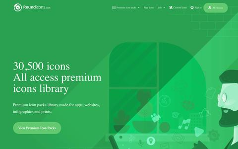 Screenshot of Home Page roundicons.com - 30,500 Premium Icons for websites and applications - Flat | Line | Solid - captured Oct. 10, 2017