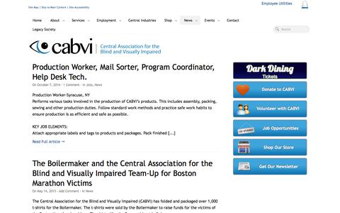 Screenshot of Press Page cabvi.org - News from The Central Association for the Blind & Visually Impaired - captured Oct. 8, 2014