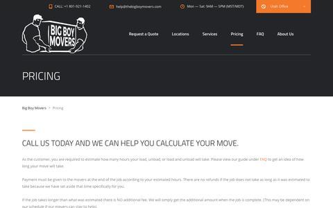 Screenshot of Pricing Page thebigboymovers.com - Pricing - Big Boy Movers - captured Oct. 5, 2018