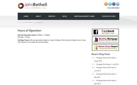 Screenshot of Hours Page johnbtitle.com - Hours of Operation | John Bethell Title Company - captured Oct. 6, 2014