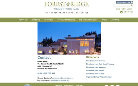 Screenshot of Contact Page Maps & Directions Page forestridge.org - Contact and Directions  | Forest Ridge School of the Sacred Heart - captured Oct. 10, 2018