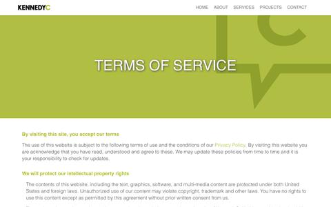 Screenshot of Terms Page kennedyc.com - KennedyC | Terms Of Service - captured Oct. 17, 2017