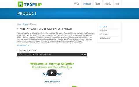Screenshot of Products Page teamup.com - Teamup Calendar | Shared Calendar for Groups & Projects | A Quick Tour - captured Sept. 19, 2014