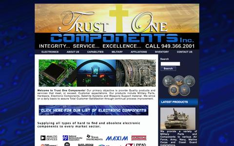 Screenshot of Home Page trustonecomponents.com - TRUST ONE COMPONENTS | Military Components | Obsolete Military Components | Military Parts | Hardware | Electronic Components | Obsolete Electronic Components | Satellite Systems | Obsolete Parts | Weapons Support Material - captured Oct. 7, 2014