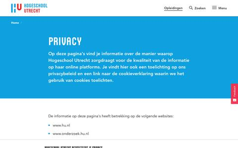 Screenshot of Privacy Page hu.nl - Privacy | Hogeschool Utrecht - captured Sept. 24, 2018