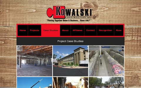 Screenshot of Case Studies Page kowalski.com - Kowalski Construction, Inc. | Case Studies - captured Nov. 27, 2016