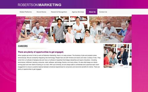 Screenshot of Jobs Page robertsonmarketing.com - :: Welcome to Robertson Marketing Group - Ecommerce - Fulfillment - Rewards - Loyalty -  Brand Merchandising - Roberston Marketing.::  - Careers - captured Sept. 30, 2014
