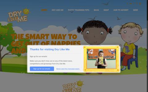 Screenshot of Home Page drylikeme.com - Home of the smart way to potty train - Dry Like Me - captured June 17, 2015