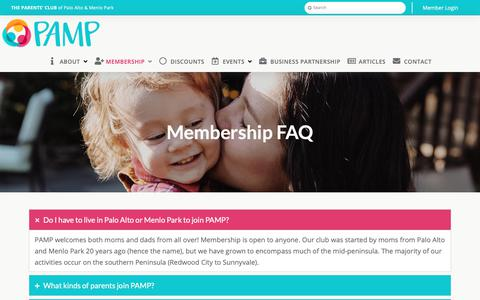 Screenshot of FAQ Page pampclub.org - Membership FAQ - PAMP Club - captured Oct. 18, 2018