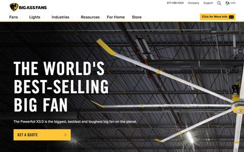 Screenshot of Home Page bigassfans.com - Large Ceiling Fans, Floor & Wall Mount Fans and LED Lights from Big Ass Fans® - captured Sept. 19, 2018