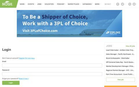 Screenshot of Login Page nosh.com - Login | NOSH.com - captured Sept. 22, 2018