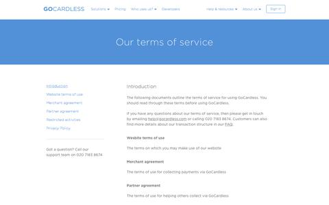 Screenshot of Terms Page gocardless.com - Our terms of service - GoCardless - captured Dec. 25, 2016