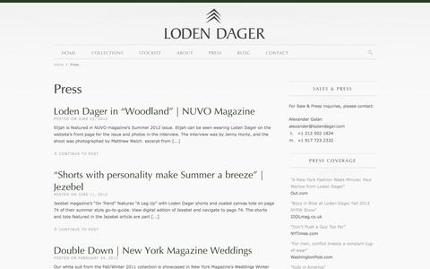 Screenshot of Press Page lodendager.com - Press | Loden Dager | Smart, inspired, and relevant menswear for the contemporary man - captured Sept. 30, 2014