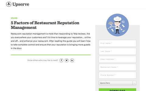 Screenshot of Landing Page upserve.com - Factors of Restaurant Reputation Management | Upserve - captured April 9, 2018