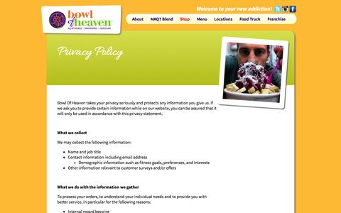 Screenshot of Privacy Page bowlofheaven.com - Privacy Policy | - captured Sept. 30, 2014