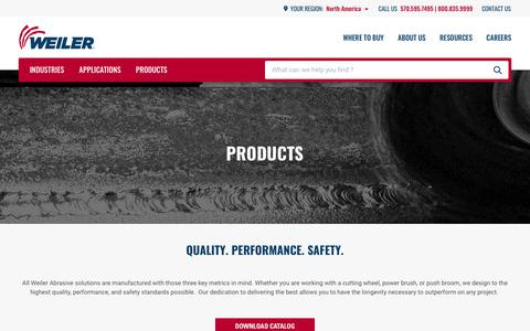 Screenshot of Products Page weilerabrasives.com - Product | Weiler Abrasives - captured Aug. 16, 2019