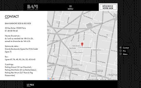 Screenshot of Contact Page Menu Page Locations Page bam-karaokebox.com - BAM dans le cœur de Paris: contact, prix, menu - captured Feb. 20, 2016