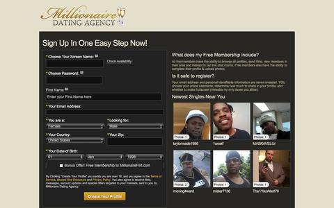 Screenshot of Signup Page millionairedatingagency.com - Sign up in one easy step, Millionaire Dating Agency - captured March 17, 2016