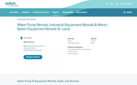 Screenshot of Support Page xylem.com - Water Pump Rentals, Industrial Equipment Rentals & More   Xylem Equipment Rentals St. Louis   Xylem US - captured Nov. 9, 2019
