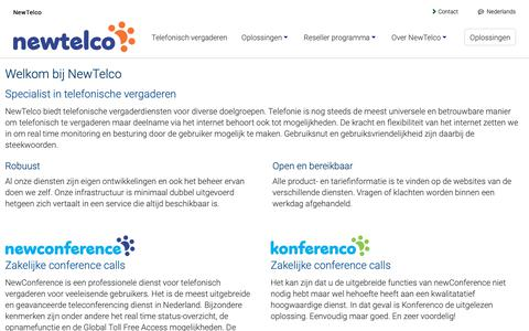 Screenshot of Home Page newtelco.nl - Conference call, teleseminar en webinar aanbieder - NewTelco BV - captured Oct. 20, 2018