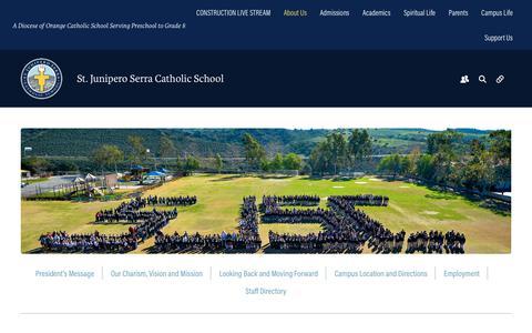 Screenshot of About Page serraschool.org - About Us - Serra Catholic School - captured Oct. 27, 2017