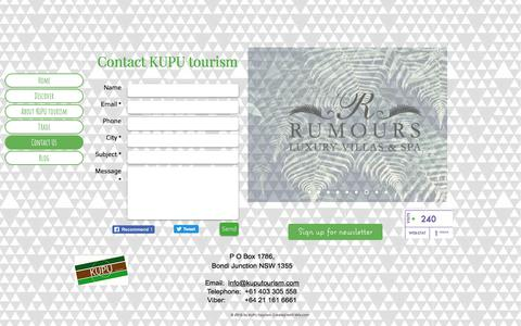Screenshot of Contact Page kuputourism.com - KUPU tourism introduces unique maori experiences and accommodation. | Contact Us - captured Sept. 20, 2018