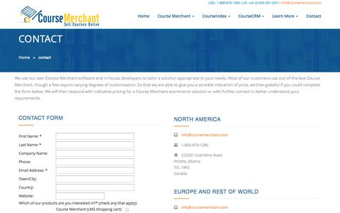 Screenshot of Contact Page websimhealth.com - Course Merchant | Contact - captured Oct. 26, 2014