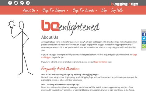 Screenshot of About Page bloggingedge.com - About Us: Blogger Outreach and Engagement Experts - Blogging Edge - captured July 29, 2016