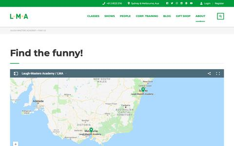 Screenshot of Locations Page laugh-masters.com.au - FIND US | Laugh-Masters Academy - captured Nov. 10, 2018
