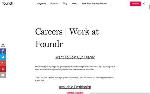 Screenshot of Jobs Page foundr.com - Careers | Work at Foundr - Foundr - captured Jan. 11, 2018