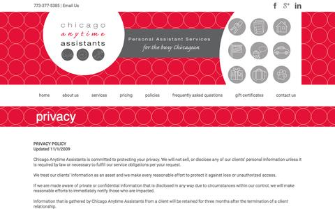 Screenshot of Privacy Page chicagoanytimeassistants.com - privacy | Chicago Anytime Assistants - captured Dec. 8, 2015
