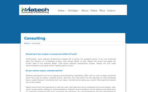 Screenshot of Services Page matechco.com - Consulting |  Matech Consulting & Outsourcing - captured Oct. 27, 2014