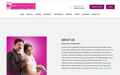 Screenshot of About Page madhyastanmatrimony.com - Madhyastan Matrimony - About Madhyastan Matrimony - Catholic Matrimony - captured Sept. 24, 2018