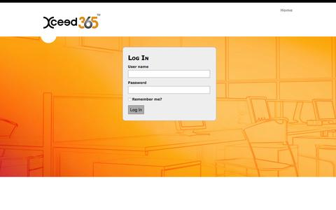 Screenshot of Login Page xceed365.com - Log in - xceed365 - captured March 1, 2016