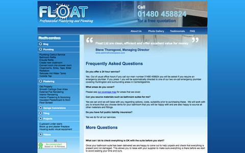 Screenshot of FAQ Page float.ltd.uk - frequently asked plumbing and plastering questions - captured Oct. 6, 2014
