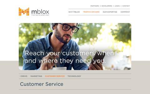 Screenshot of Support Page mblox.com - Customer Service - MBlox - captured Nov. 23, 2015