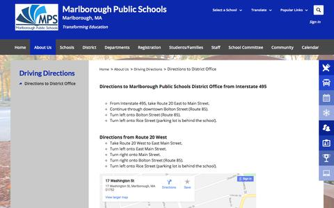 Screenshot of Maps & Directions Page mps-edu.org - Driving Directions / Directions to District Office - captured Feb. 24, 2018
