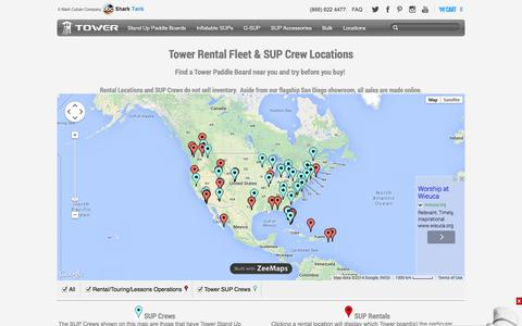 Screenshot of Locations Page towerpaddleboards.com - Paddle Board Rental Locations and Tower SUP Crew Locations - captured Sept. 17, 2014