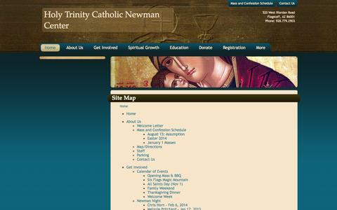 Screenshot of Site Map Page naunewman.org - Site Map :: Holy Trinity Catholic Newman Center (Flagstaff, AZ) - captured Oct. 9, 2014