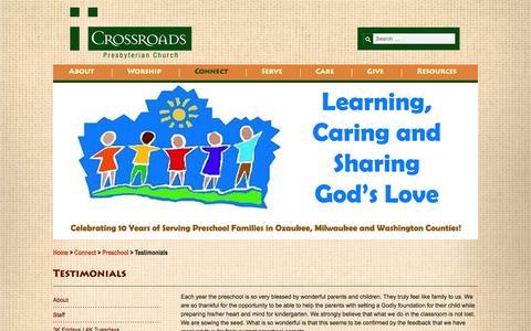 Screenshot of Testimonials Page crossroadspres.org - Testimonials - Crossroads - captured Nov. 2, 2014