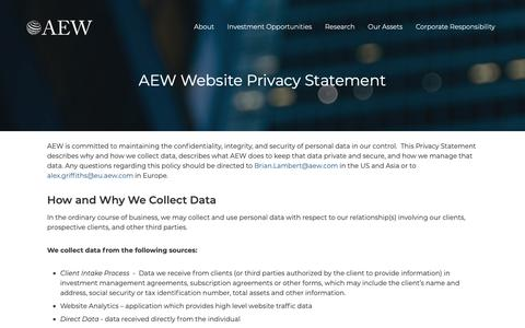 Screenshot of Privacy Page aew.com - AEW Website Privacy Statement   AEW - captured Oct. 2, 2018
