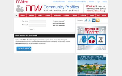 Screenshot of Login Page itwire.com - iTWire - Login - captured Sept. 19, 2014